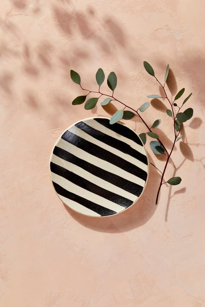 House of Harlow 1960 Creator Collab Black and White Striped Circle Tray