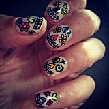 Alexa Chung showed off some seriously cool nail art. Source: Twitter user Alexa_Chung