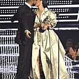 Drake and Rihanna shared a kiss after he presented her with the Michael Jackson Video Vanguard Award in 2016.