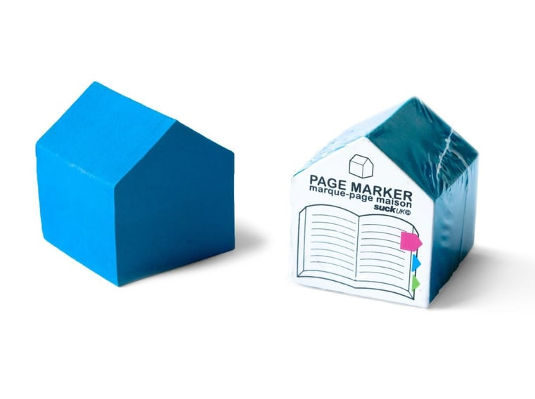 We can't get enough of the unique shape of these fun house page markers ($5) that come in different colors.