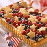 An exact replica of the American flag not your style? Deconstruct it with this fruity star spangled tart.
