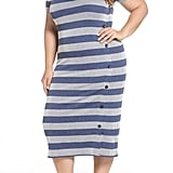 BP. Side-Button Stripe Midi Dress