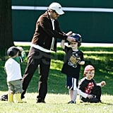 Patrick Dempsey Helps Keep His Son's Eye on the Ball Prior to a Memorable Musical Performance