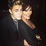 "Kris Jenner also got her time in with Justin — at one point, the singer put his arms on the momager's waist. ""@kendalljenner @kyliejenner who's your daddy,"" Justin joked in the caption. Source: Instagram user justinbieber"