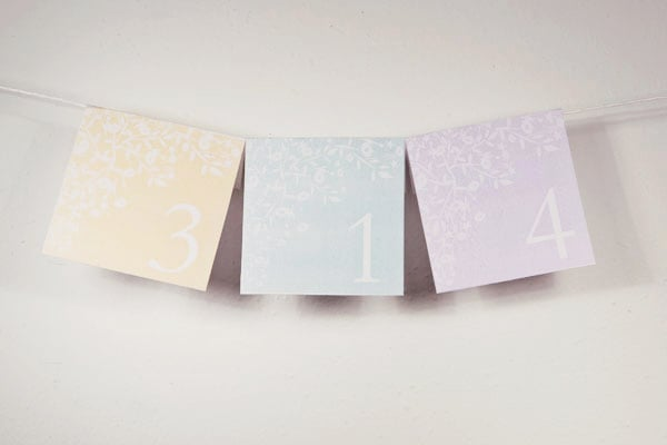 Pastel Table Numbers