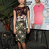 Dianna Agron added a floral headband to her Mary Katrantzou dress, adding a girlie touch to the final look at a party to celebrate her Nylon cover in December 2012.