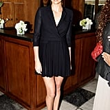 Charlize Theron feted the 25 Most Powerful Stylists Luncheon in a sweet Boy by Band of Outsiders coat dress.