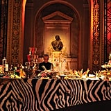 More of the scene: exotic prints, statues, and endless buffets.