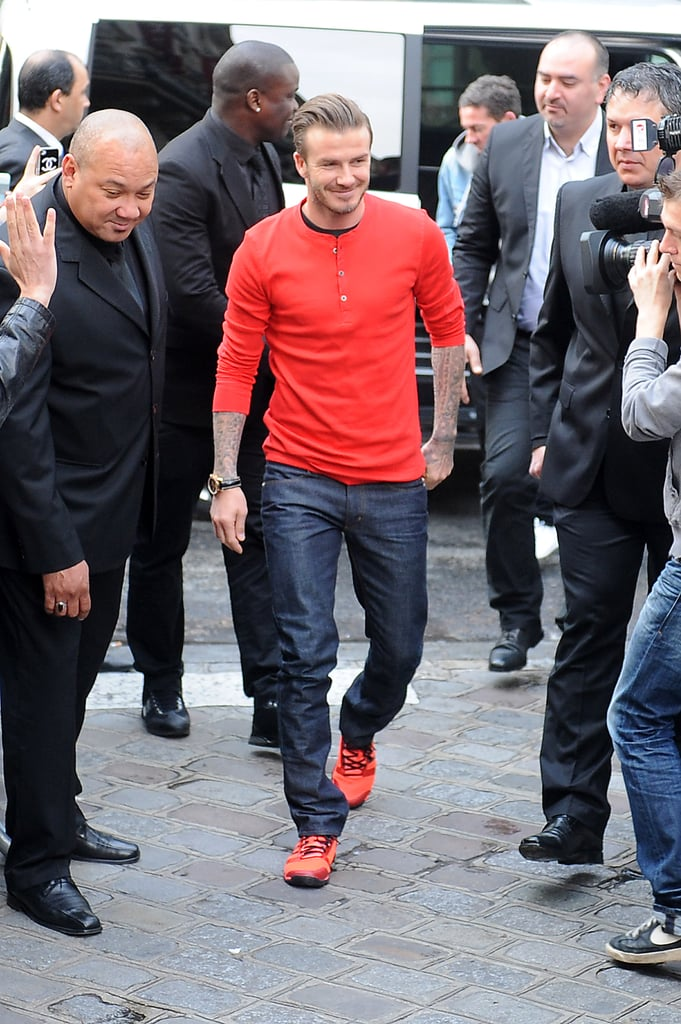 David Beckham headed back to work in Paris today when he stopped by an H&M store to promote his line of underwear. He is falling back into the swing of his off-the-field work schedule after he announced last week that he would be retiring from soccer at the end of his season with Paris Saint-Germain. The team will play their final game against Lorient on Sunday, but it isn't clear if David will take part in the match as he has been staying off the field for most games with PSG. Last Sunday, David was joined by his wife, Victoria Beckham, and their children during his final home game with PSG, where he was given a hero's farewell by his teammates and the spectators. Regardless of David's current soccer schedule, it's good to see that he is still committed to keeping up with his skivvies-related business — don't forget to check out all of David Beckham's best underwear ads!
