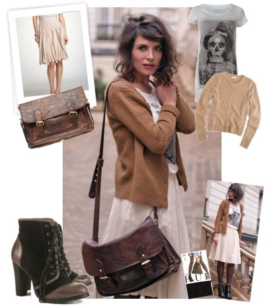 Winter Street Style: Pleated Skirts, Camel Cardigan, and Booties