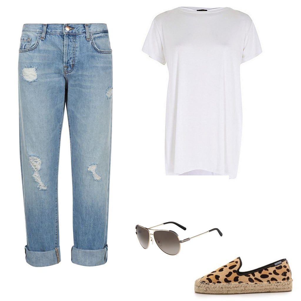 Tee, $40, River Island; jeans, $541, JBrand at Harrods; flats, $126, Soludos at Shopbop; sunglasses, $286, Chloe at Neiman Marcus