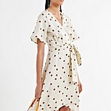 Moon River Polka Dot Asymmetrical Wrap Dress
