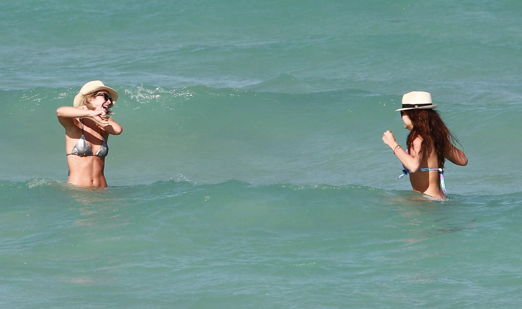 Julianne Hough and Nina Dobrev hung out in the water in Miami.