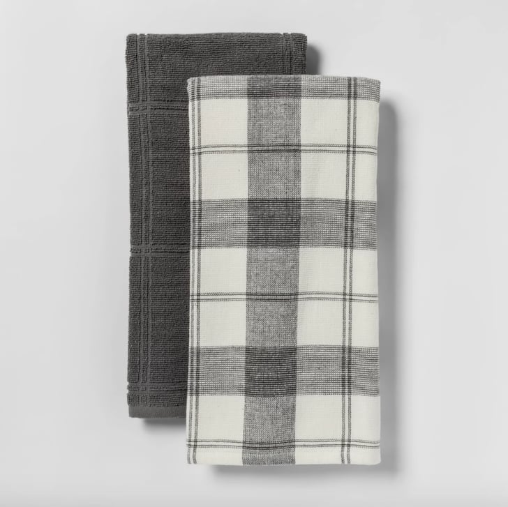 Two-Pack Of Check With Solid Kitchen Towels From Threshold