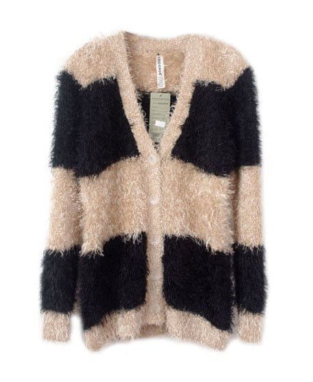 Chicnova Fluffy Color Block Cardigan