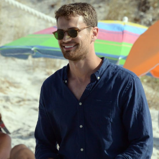 Theo James on the Beach in Spain July 2017