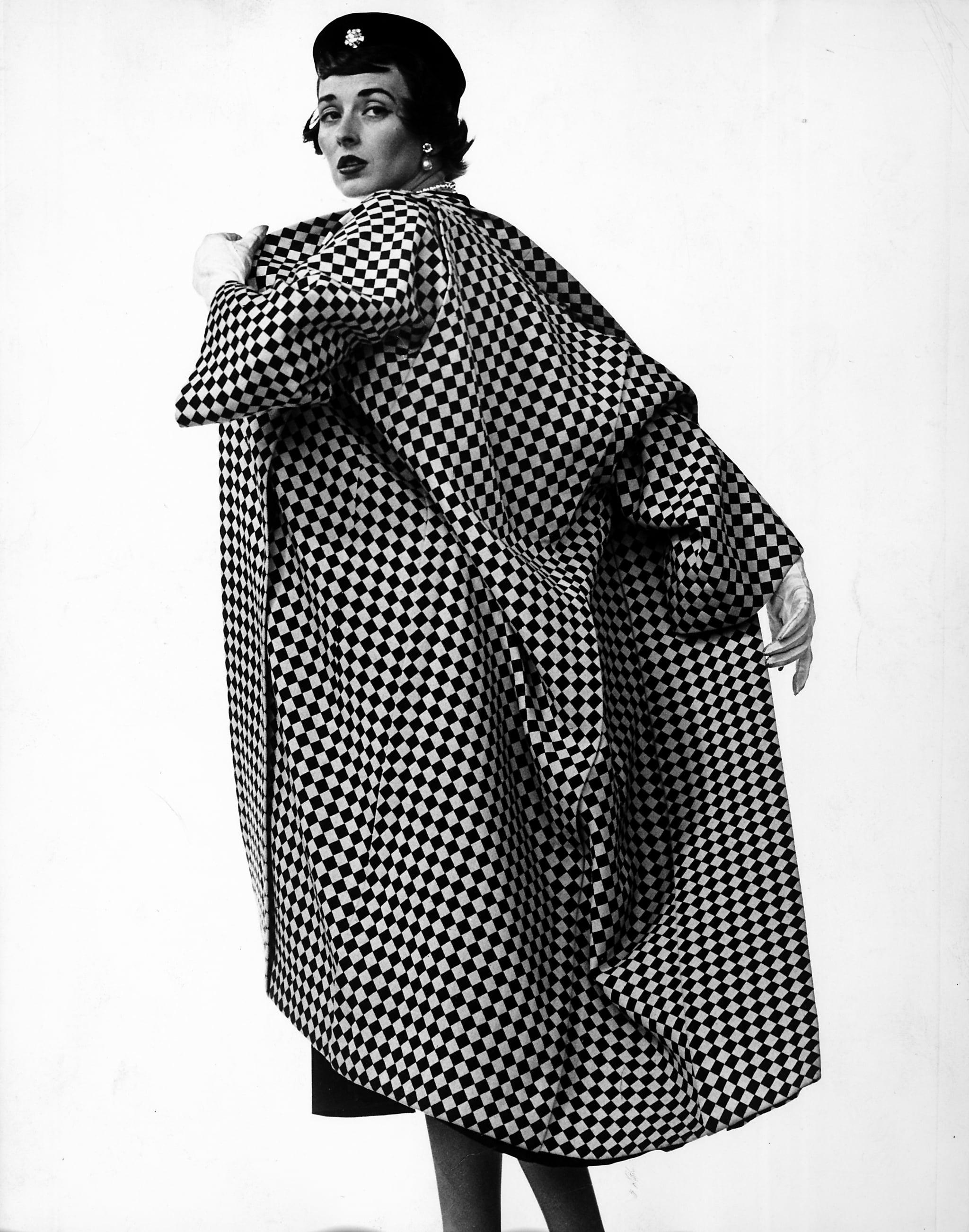 Dorian Leigh, Trigere coat, 1950.
