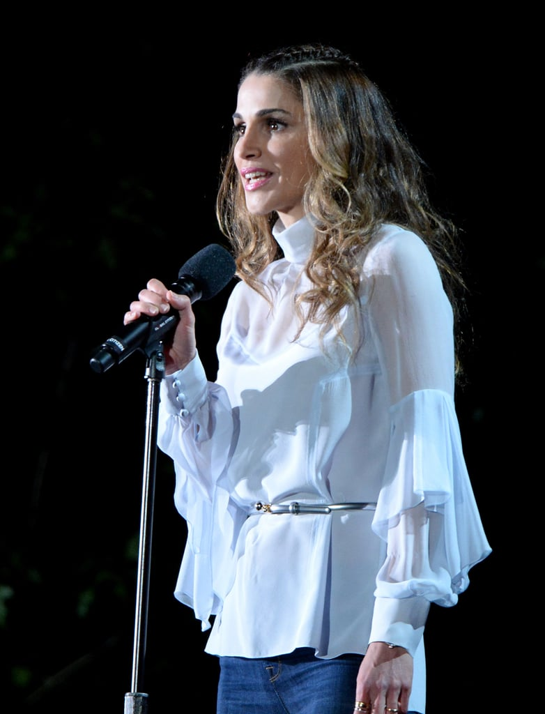 Queen Rania's Sheer Top at the 2016 Global Citizen Festival