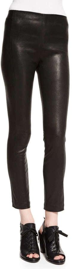 Rag and Bone rag & bone/JEAN Georgie Cropped Leather Pants, Washed Black ($990)