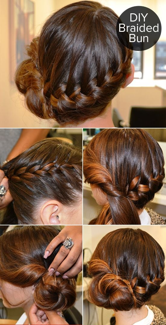 simple n beautiful hair style this braided bun tutorial got a lot of on 4949 | braided bun tutorial got lot action Pinterest