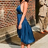 Olivia Munn served up a seriously sexy, albeit understated, look in a breezy Raquel Allegra sundress and wood-heeled platforms.