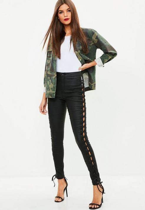 Missguided Black Side Lace Up Skinny Jeans