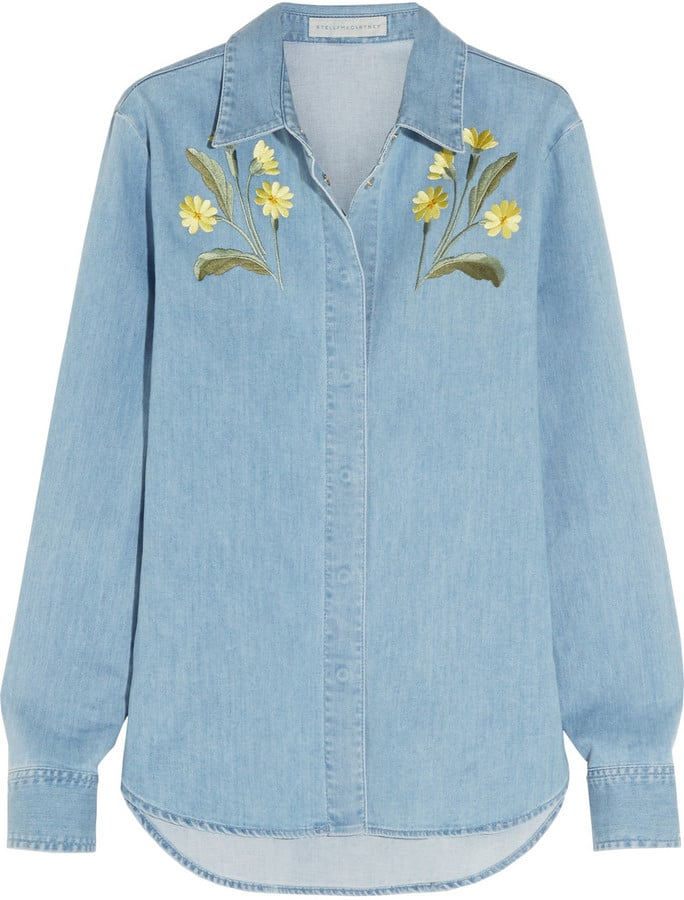 Stella McCartney Embroidered Stretch Denim Shirt ($695)