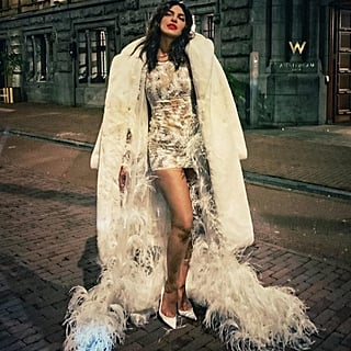 Priyanka Chopra Feather Dress at Bachelorette Party