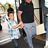 Britney Spears's father, Jamie, walked through the airport with Jayden.