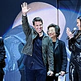 Tom Cruise waved from the stage.