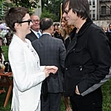 Anne Hathaway got together with Jim Carrey at Stella McCartney's Spring presentation in NYC.