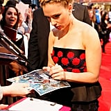 Scarlett Johansson spent some time with fans at the premiere of The Avengers in London.
