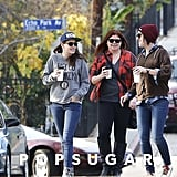 Kristen Stewart chatted with her girlfriends.