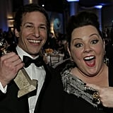Melissa McCarthy helped Andy Samberg celebrate his big win.  Source: Paul Drinkwater/NBC/NBCU Photo Bank/NBC
