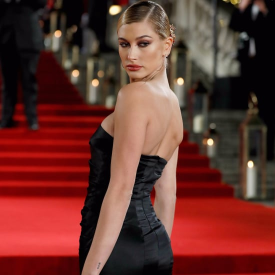 Hailey Baldwin's Black Topshop Dress at Fashion Awards 2017