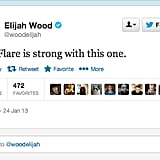 Lord of the Rings trilogy actor Elijah Wood comments on J.J. Abrams's love of lens flares.