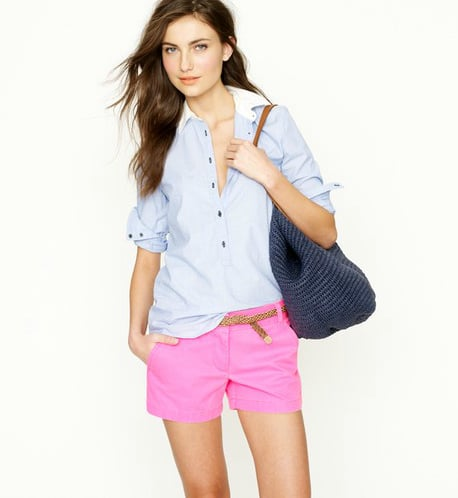 "Chino shorts in this season's hottest neon hues? A must wear. J.Crew 3"" Chino Short in Neon Pink ($45)"