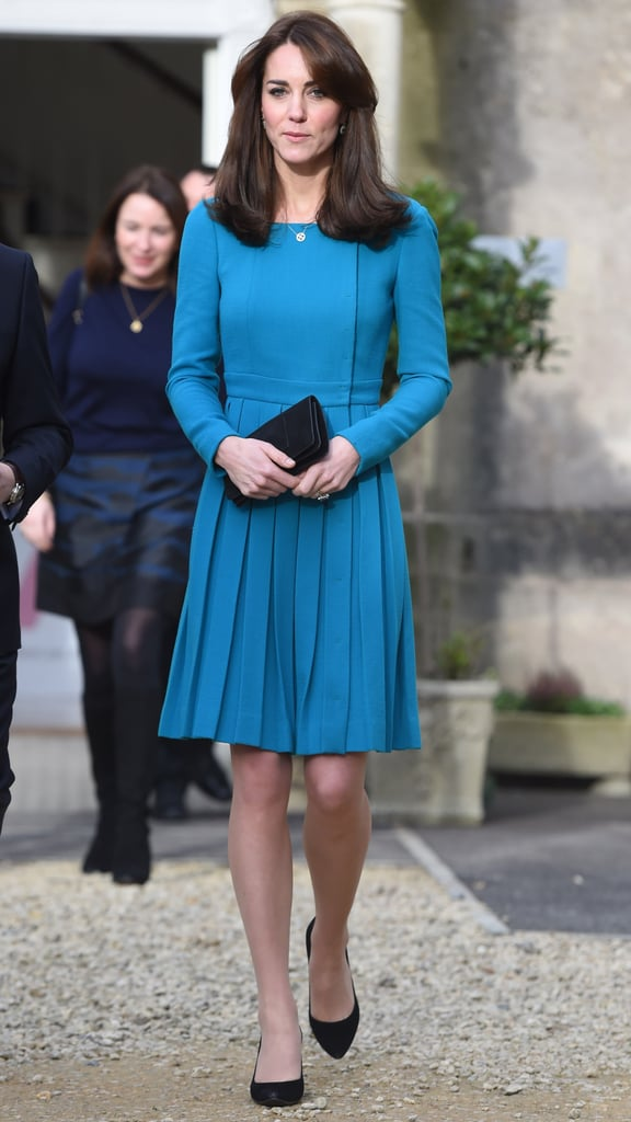 Kate Middleton Wearing Houndstooth Coat and Blue Dress | POPSUGAR ...