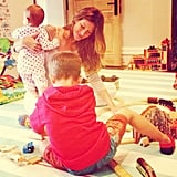 With Vivian in her arms, Gisele Bündchen and her son Benjamin played with a toy train. Source: Instagram user giseleofficial