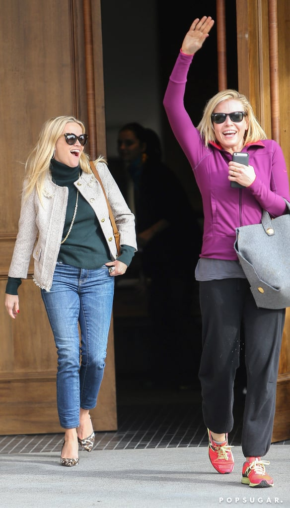 Reese Witherspoon and Chelsea Handler linked up for lunch in LA on Thursday. The pair, who have been pals for years, got goofy for the cameras and smiled and waved as they left the Baltaire restaurant together. Chelsea and Reese's lunch date comes just days after the trailer for Chelsea's upcoming Netflix docuseries was released. We haven't seen the two out together since last year, so their afternoon meal could likely have been a nice catch-up.  Reese has been getting a head start on the holidays with her family, as well as the first family; the actress attended the Annual National Christmas Tree Lighting ceremony in Washington DC last week and helped President Obama, First Lady Michelle, and their kids, Sasha and Malia, light the tree alongside Miss Piggy and Santa Claus himself. Keep reading to see Reese and Chelsea's girls' day out.