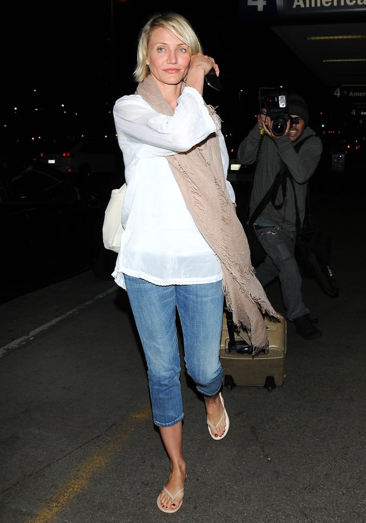 Cameron Diaz looked fresh-faced as she landed in a casual outfit at LAX last night. She returned from a quick trip to Kauai, after arriving there over the weekend. The island getaway was just the latest in a string of travels for Cameron, who has also popped up in NYC and Switzerland this month. She made the European jaunt for a Tag Heuer watch event, and she'll soon be back in front of the cameras to start press for What to Expect When You're Expecting. The movie hits theaters next month and also stars Elizabeth Banks, Jennifer Lopez, and Brooklyn Decker. Brooklyn just celebrated her 25th birthday, and we took a look at her hottest bikini moments!
