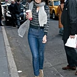Holmes worked an Étoile Isabel Marant knit cardigan, light-wash denim, and suede ankle boots while arriving at her Broadway play, Dead Accounts, in November 2012.