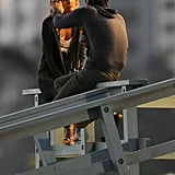 Zach Braff caressed Kate Hudson's face while filming Wish I Was Here in Santa Monica, CA.