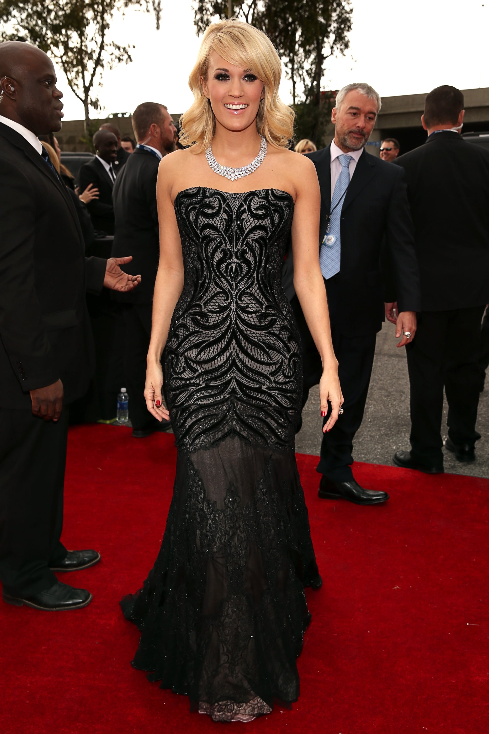 Carrie Underwood wore a Roberto Cavalli gown for the Grammys red carpet.
