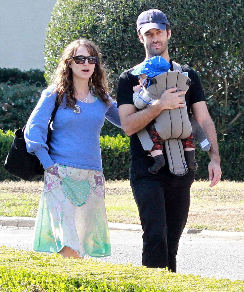 Natalie Portman and Benjamin Millepied in LA with son Aleph Millepied.