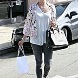 Ashlee Simpson worked a breezy take on skinny denim with a printed kimono.
