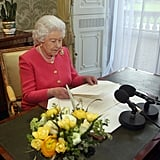 Queen Elizabeth II gives her Commonwealth Day address in 2013