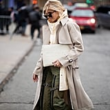A utility trench and cargo pants are the epitome of weekend chic.