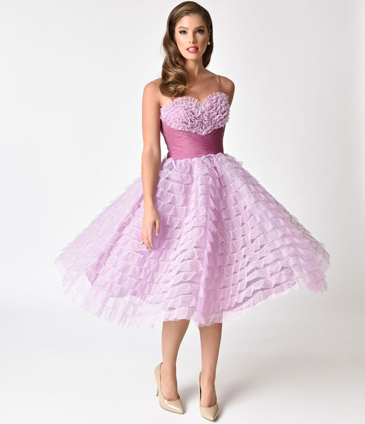 Unique Vintage 1950s Lavender Ruffled Tulle Sweetheart