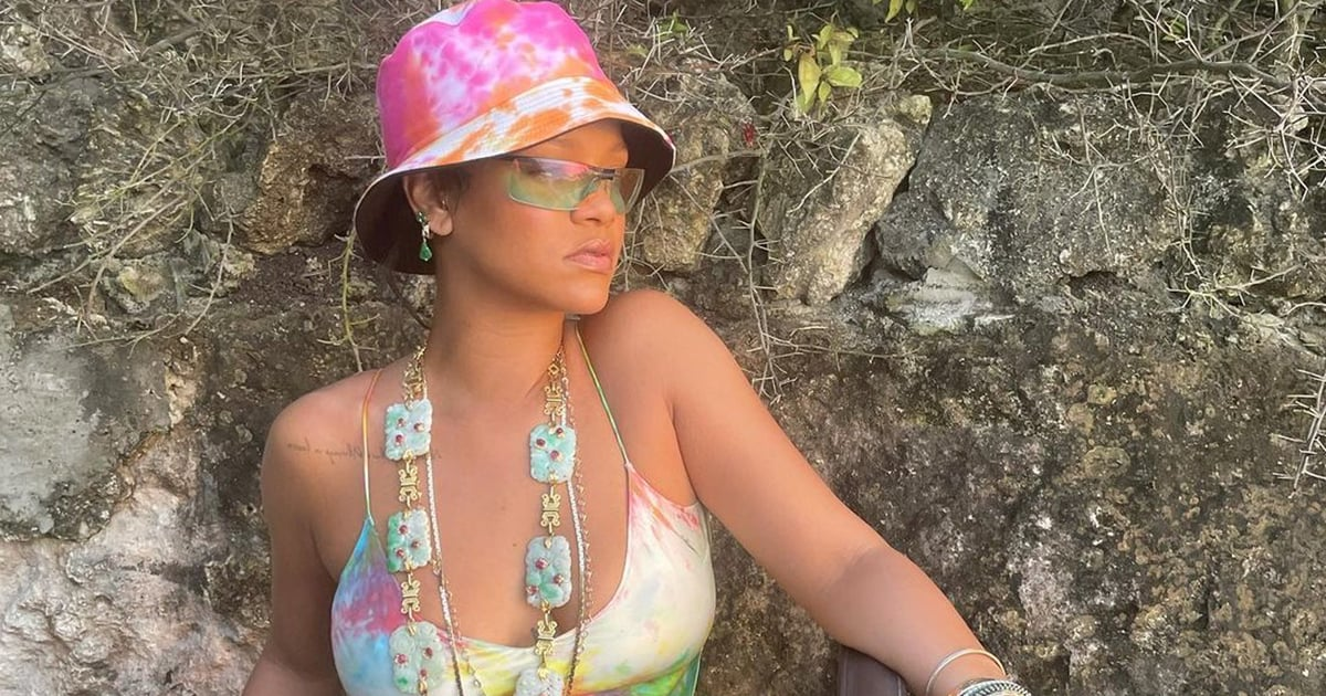 Rihanna Brightens My Winter Blues With Her Tie Dye Slip Dress and Matching Bucket Hat